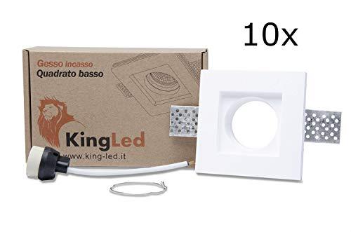 KingLed - 10pz Portafaretto in Gesso CERAMICO da Incasso Quadrato Slim per Controsoffitti cod. 1495