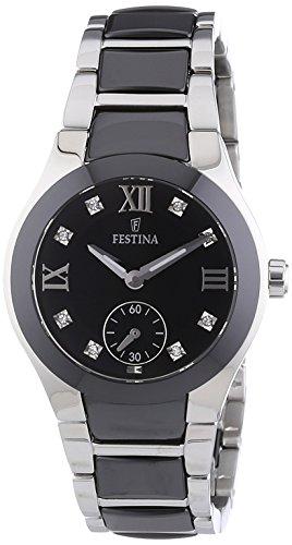 Festina F16588/3 – Reloj analógico de pulsera para mujer (mecanismo de cuarzo, esfera negra y correa de acero inoxidable negro)