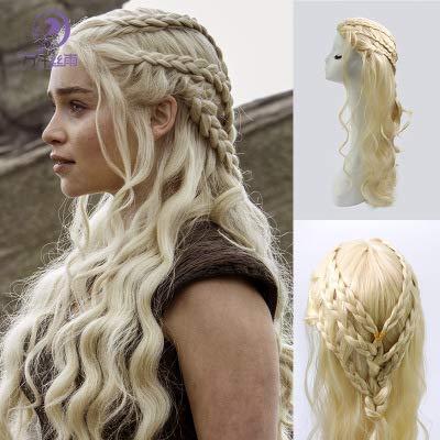 Daenerys Targaryen Lolita Schöne Cosplay Perücke mit Perücke Kappe Manga Anime Perücken Lange Kostümperücke für Frauen und Mädchen (Daenerys Targaryen Kostüm Hochzeit)