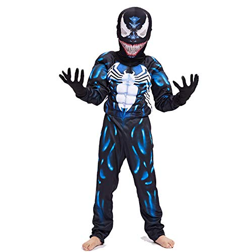 Qxmei venom bambini cosplay costumi collant siamesi costumi muscolari costumi in maschera di halloween,blue-s
