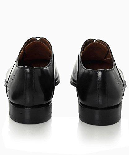 Magnanni Hommes brogues oxford en cuir lisse Noir Noir