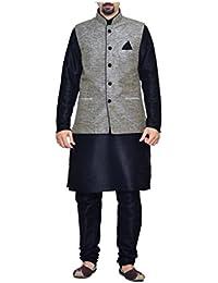 Mag Men's Nevy Blue Matching Silk kurta Churidar Waistcoat