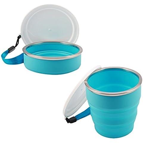 Andux silicona taza plegable taza taza del viaje ZDSB-01 (Blue)