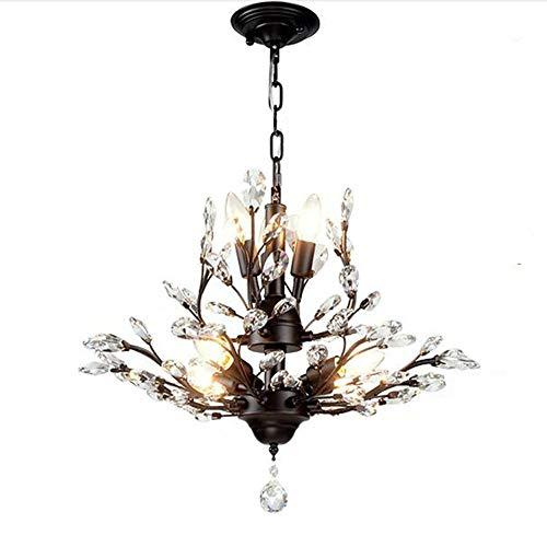 Europäische Vintage iron Kristallleuchter, modernes Restaurant, Leselampe, Kreative Schlafzimmer Wohnzimmer französische Lampe Anhänger Beleuchtung Lampen Laternen (Farbe: Schwarz-7 Lampe) - Französische Anhänger Beleuchtung