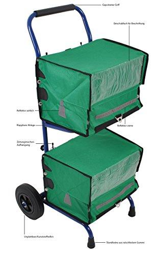 Zeitungswagen (Zeitungsroller) mit Rollen und 2 grünen Zeitungstaschen - Zeitungstaschen eignen sich für Zeitungswagen und Fahrrad