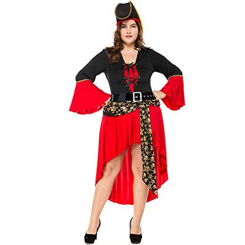 LCWORD Halloween-Kostüm Erwachsene Weibliche Piraten-Kostüm Kleid Plus Größe,M