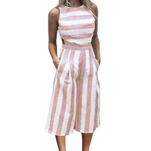 VEMOW Sommer Playsuit Elegante Damen Frauen Sleeveless Blau Streifen Jumpsuit Lässig Täglichen...
