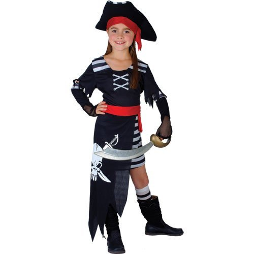 M-Girls-Pirate-Princess-Costume-for-Sea-Buccaneer-Fancy-Dress-Kids-Childs-Medium-Age-5-7-years