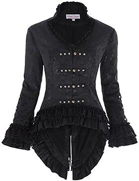 Mujeres Chaqueta Elegante De Cola Abrigo Con Volantes Negro Estilo Victoriano 223