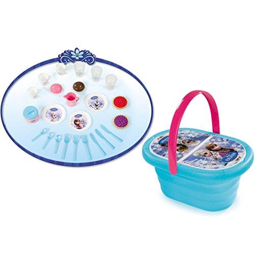 Unbekannt Disney Frozen die Eiskönigin Puppenservice im Picknick-Korb für 3 Kinder 26cm: Picknickkorb Puppen Geschirr Service Spielzeug Spiel Küche