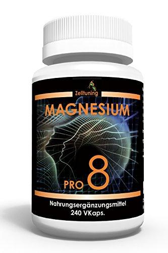 Zelltuning Magnesium Pro 8 - Das 8 fach Hochleistungs-Magnesium - 240 Kapseln im 2 Monatsvorrat - Kleine Kapseln leicht zu schlucken - mit natürlichen Spurenelementen.