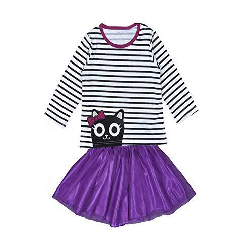 Lookhy Baby Kinder Mädchen Outfit Soutfit Kleidung Print Langarm T-Shirt Tops und Spitze Rock 1Set Mädchen langärmelige süße Kirsche Print und Knie Kleid
