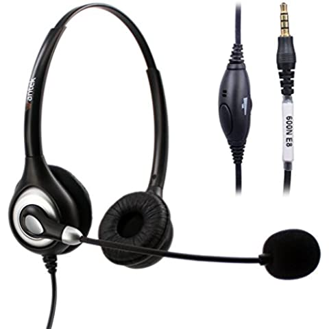 Arama wantek teléfono celular ajustable diadema Auriculares con micrófono y cancelación de ruido para iPhone Samsung LG HTC Blackberry HUAWEI ZTE teléfono móvil y Smartphones con 3,5mm Jack (a602mp)
