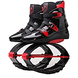 LEFT&RIGHT Unisex Rebote Botas Zapatos de Salto Zapatos de Rebote Zapatos Anti-Gravedad Botas Gimnasio Fitness Botas Zapatillas de Running Perder Peso Zapatos, Rojo Negro,XXL=UK8.5(90~110kg)