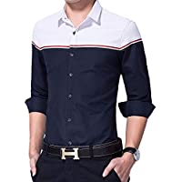 IndoPrimo Men's Cotton Casual Shirt for Men Full Sleeves (Navy Blue, Small - 38)