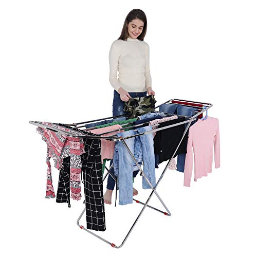 VEEN LIFETIME Stainless Steel Foldable Cloth Stand For Drying Clothes | Cloth Drying Stand for Bedroom | Fold-able Space Saver Stand | Make In India (Pipe Stand - Steel)