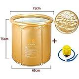 ZWL Stent Fold Bañera Plástico más grueso 65 * 75cm Carpeta para adultos Baños netos de baño Barriles de lavado Bañadores de baño simples inflados Moda.z ( Color : Oro )