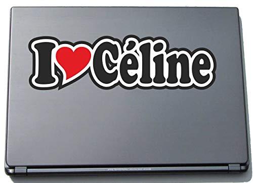 INDIGOS UG - Aufkleber - I Love Heart Decal Sticker Laptopskin Laptopaufkleber 297 mm - Ich Liebe - Name (Mann, Frau, Kind, Junge, Mädchen) - I Love Céline