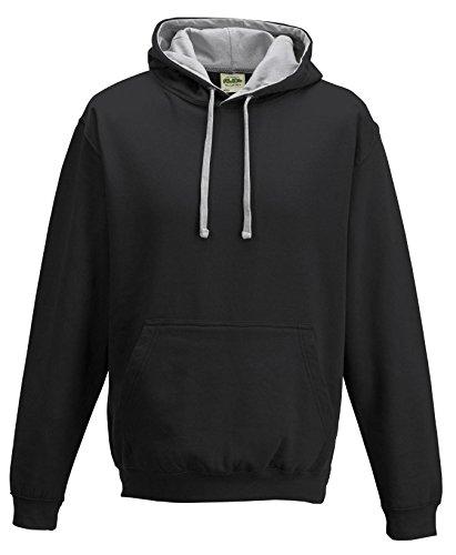 Just Hoods Varsity Sweat-shirt à capuche Schwarz / Heathergrau