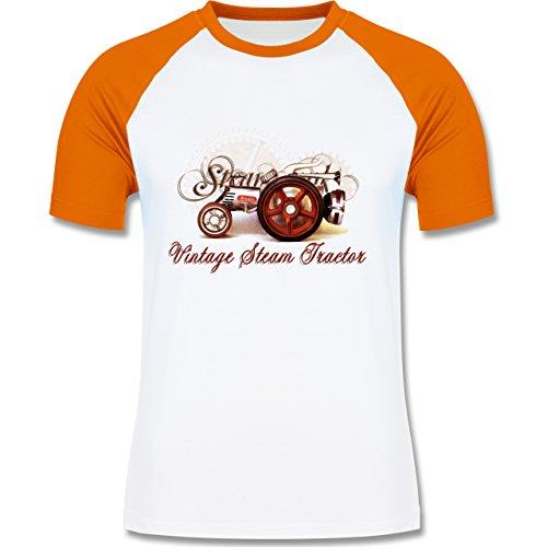 Landwirt - Vintage Steam Tractor Traktor - zweifarbiges Baseballshirt für Männer Weiß/Orange