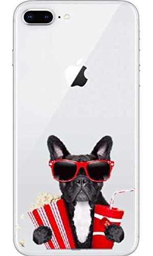 Art Design Hülle für iPhone 7+ Plus/iPhone 8+ Plus Französischer Bulldogge Hund und Sonnenbrille Pop Corn und Coca ColaSoft Silikon