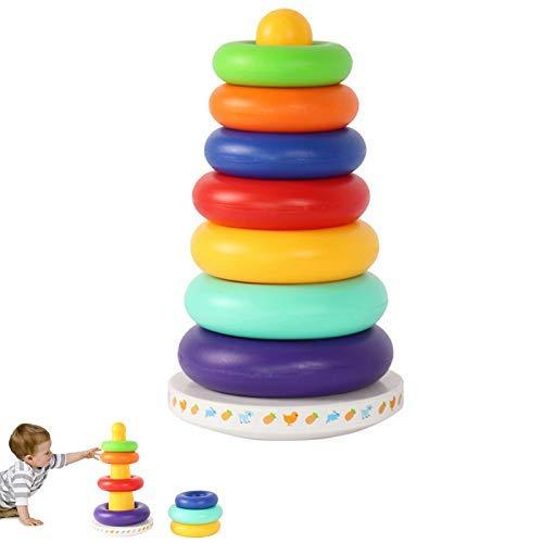 Chengjellylibrary Stapel Verkleidung Regenbogen Tower, Musik Becher Holz Ablage Ring Tower, Intelligent Entwicklung Lernspielzeug