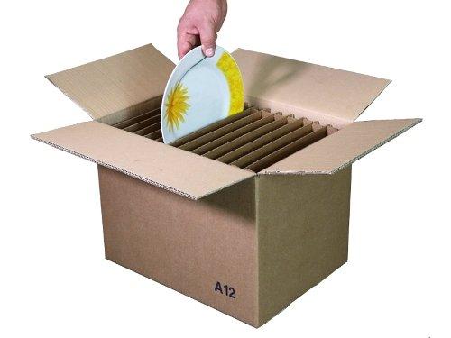 Simba Paper Design Scatole Cartone Trasloco Piatti + Bicchieri : 3 Scatole x 8 Piatti cm. 29x29 + 3 scatole x 24 Bicchieri cm, 9x9x h 14 + 1 Nastro Adesivo cm 5 x 60 Metri