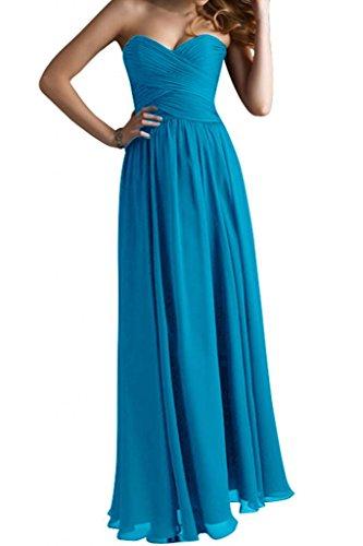 Gorgeous Bride Modisch Herzform Chiffon Lang A-Linie Abendkleid Festkleid Abendmode Blau
