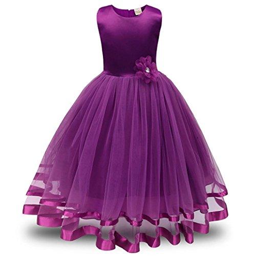 ❤️Kobay Blume Mädchen Prinzessin Brautjungfer Festzug Tutu Tüll-Kleid Party Hochzeit Kleid (Lila, 140 / 6 (Mädchen Kostüm Halloween Blumen)