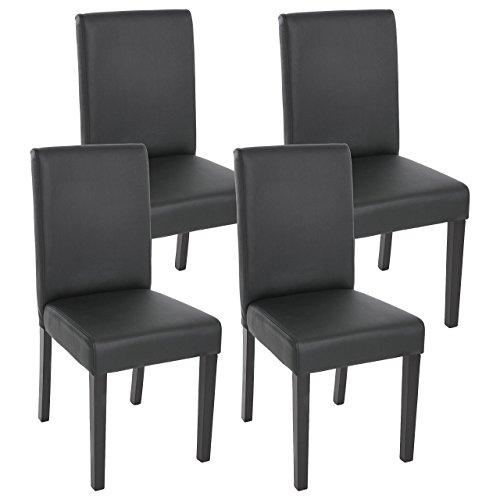 Schwarzen Stühlen (Mendler 4X Esszimmerstuhl Stuhl Lehnstuhl Littau ~ Kunstleder, schwarz matt, dunkle Beine)