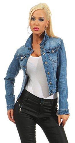 4978 Fashion4Young Damen Jeansjacke Damenjacke Jeans Jacke Kurze Jacke Stretch-Denim (blau, M-38)