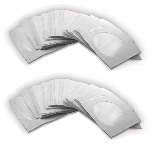 Trendsky® Papierhüllen mit Fenster und Lasche für CD DVD Bluray Rohlinge Papier Hüllen - Qualtätsprodukt (200 Stück)