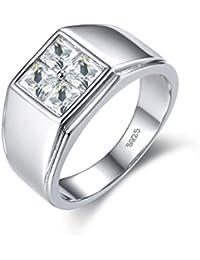 Anillo de plata de ley 925 para hombre, chapado en oro blanco de 18 quilates, joyería nupcial para novio