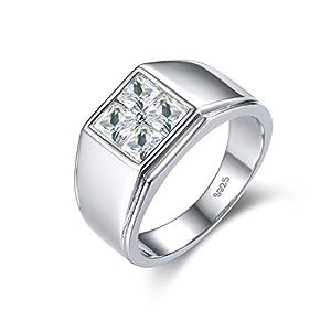 925Sterling Silber Herren Ringe 18K Weiß Vergoldet Hochzeit Schmuck für Bräutigam