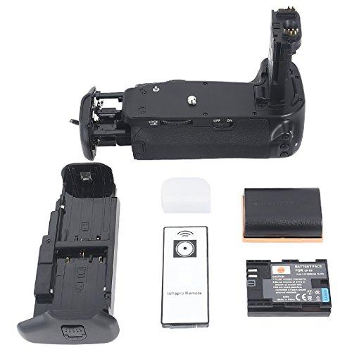 DSTE Vertical Multi-Power Battery Grip Holder for Canon EOS 6D SLR Camera as BG-E13 + Wireless Remote Control + 2pcs LP-E6 Li-ion Battery Multi Power Battery Grip