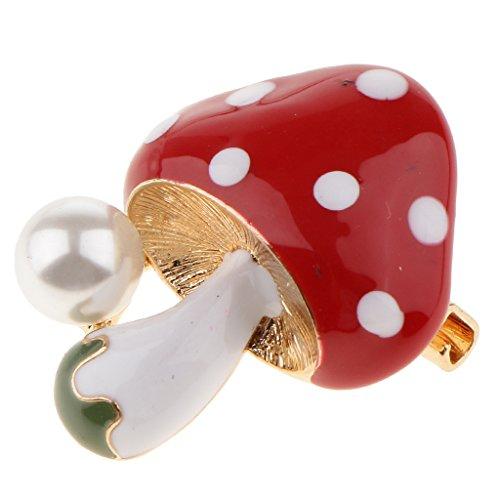 mig Brosche Pin mit Perle Verschöenerung Kleidung Zubehör für Mädchen - rot (Kind Roter Pilz Hut)