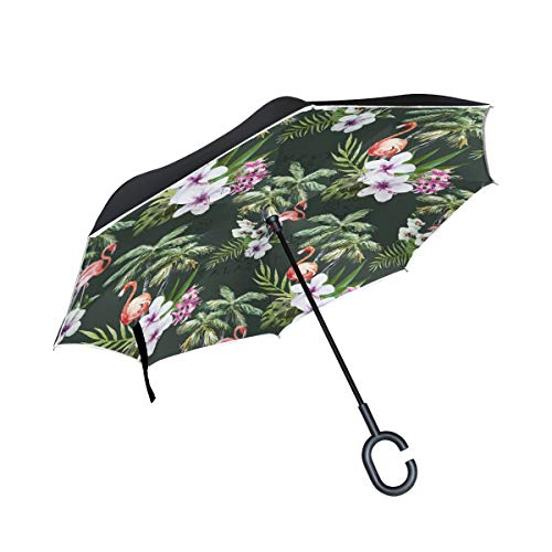 XiangHeFu Double Layer Inverted Reverse Umbrellas Flamingo Mit Palm Leaf Folding Winddichter UV-Schutz Big Straight für Autos mit C-förmigem Griff