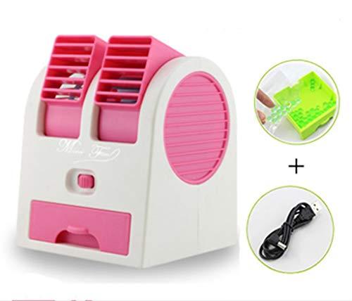 IF.HLMF tragbarer Mini-Lüfter für die Klimaanlage und den Mini-Tischtisch, USB, tragbar, duale Luftauslässe, klingenlose Klimaanlage für Zuhause, Büro, Reisen und draußen, Pulver