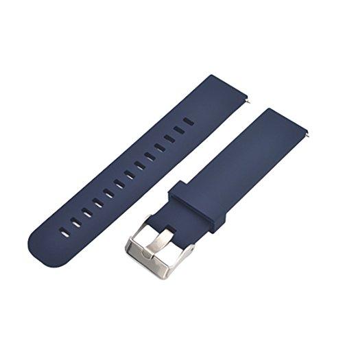 Verdickung dauerhaft dunkelblau Silikonuhren Armband 22mm mit Edelstahl-Schnalle für wasserdichte Uhr