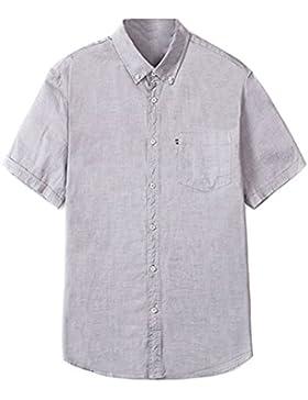 Zhuhaitf Suave y cómodo Mens Soft Comfortable Summer Short Sleeve Solid Color Shirts Summer Tops Size175-215