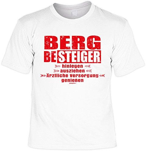 Freizeit/Wander/Kletter-Shirt/Sprüche-Shirt Thema Wandern: Bergbesteiger hinlegen ausziehen ärztliche Versorgung genießen Weiß