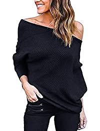 Imixcity Donne on/off Una Spalla Maglione Maniche Lunghe Pipistrello Pullover Elegante Tops Bluse Allentato