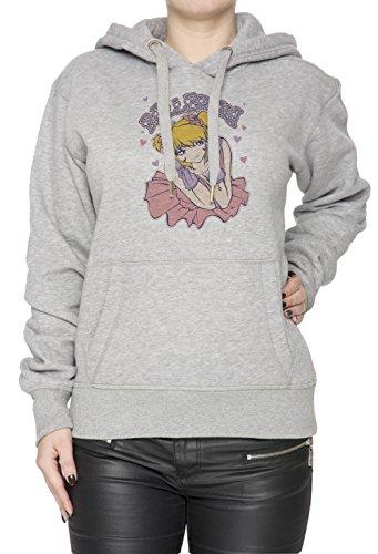 Ballerina Donna Grigio Felpa Felpa Con Cappuccio Pullover Grey Women's Sweatshirt Pullover Hoodie