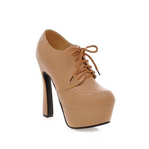 VogueZone009 Damen Knöchel Hohe Naht Schnüren Rund Zehe Hoher Absatz Stiefel Aprikosen Farbe