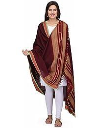The Weave Traveller Handloom Hand Woven Mercerised Cotton Bhujodi Dupatta With Pom Pom Edgings For Women & Girl's