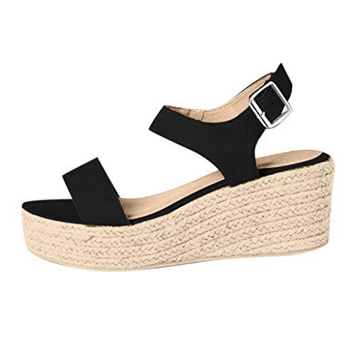 Frauen Open Toe Schnalle,Knöchelriemen Sandalen Wedges,Riemchensandalen Sommer Weben Atmungsaktive Schuhe URIBAKY