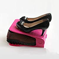 LAIKASHI Shoe Slots Organizer Adjustable Shoe Slots Organizer Shoe Rack Space Saver Plastic