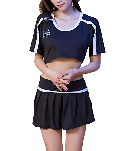 365-Shopping Cheerleader Fancy Kleid Outfit Uniform High School Kostum mit gefaltetem (Outfit Maskottchen)