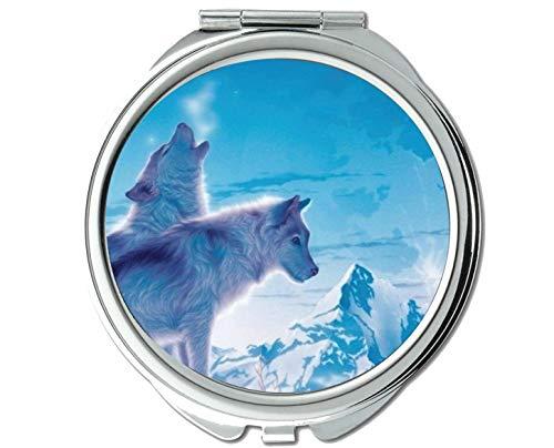 Yanteng Spiegel, Runder Spiegel, Taschenspiegel Animal Wolf Girls, 1 X 2X Vergrößerung