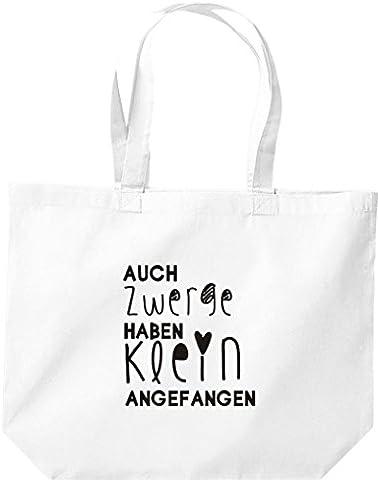 """Shirtstown grand sac de courses kultiger inscription en allemand """"klein mouvement ont également nains - Blanc - Blanc, 35 cm x 39 cm x 13 cm"""